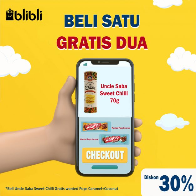 Beli 1 Gratis 2 :Uncle Saba Sweet Chilli 70g + Wanted Pops (Caramel + Coconut) + Diskon 30%