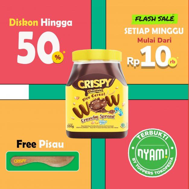 Exclusive Crispy Spread 350g Free Pisau Selai + Diskon 50% Terbukti by Toppers Tokopedia Nyam!